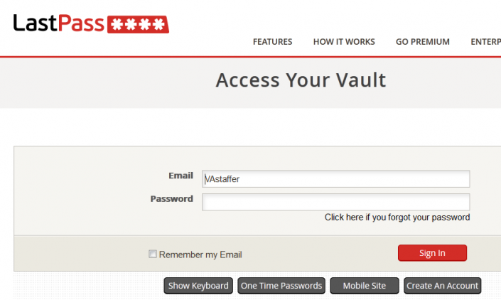 LastPass Sign in